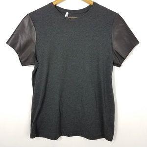 Vince Gray Leather Contrast Sleeve T Shirt Medium